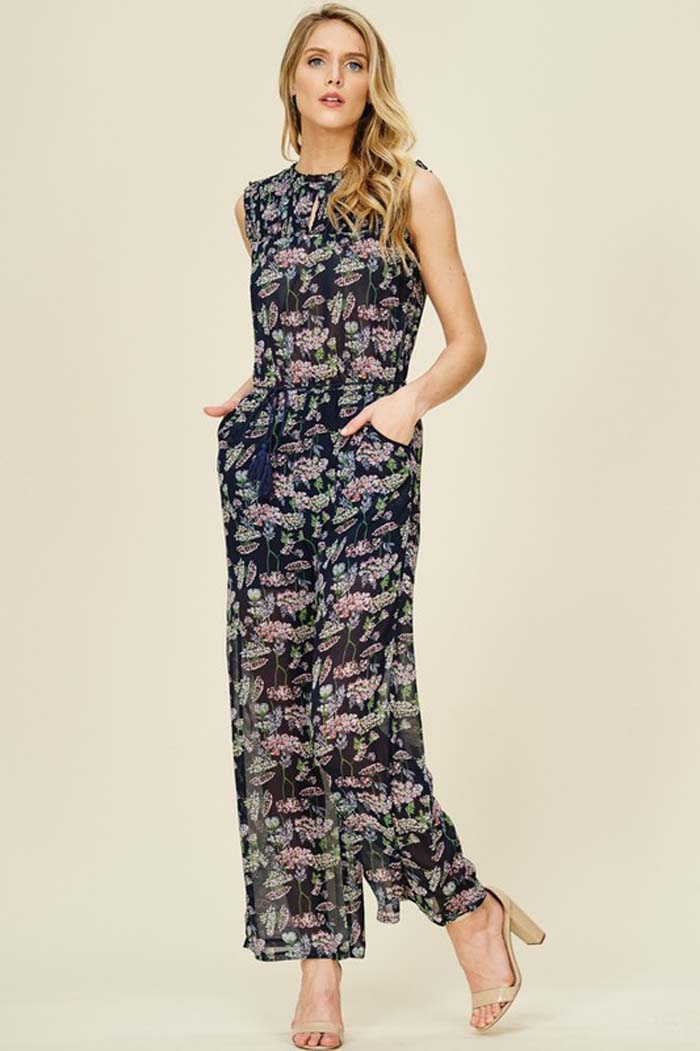 Wendy Chiffon Floral Jumpsuits : Navy