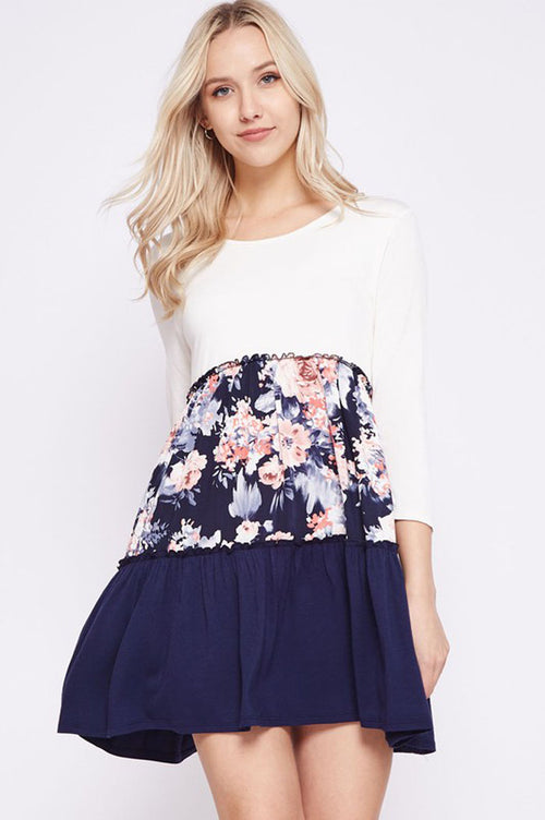 Lillian Floral Layer Dress : Ivory/Navy