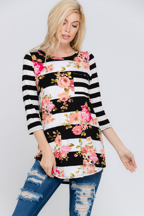 Susan Floral and Stripe Top : Black