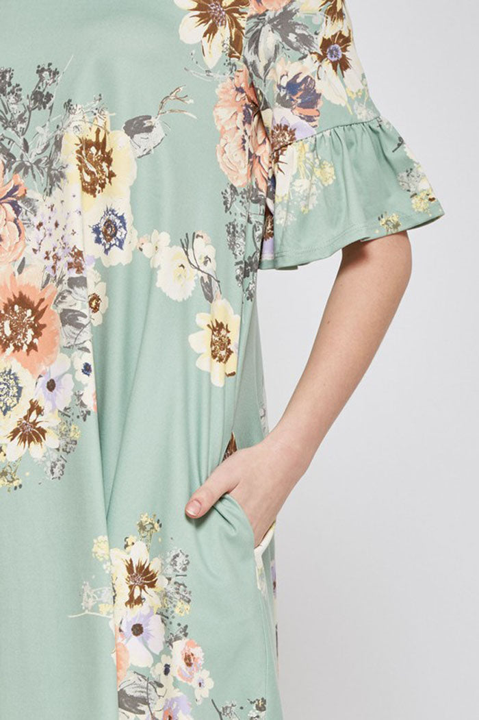 Maya Floral Ruffle Dress : Sage