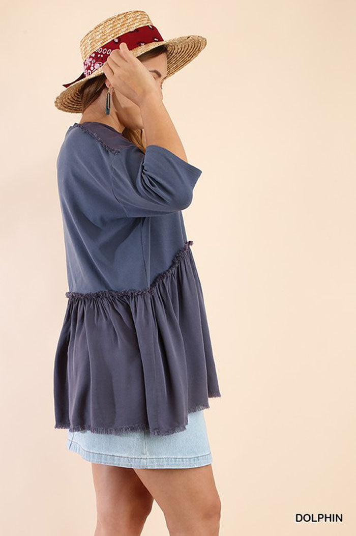 Julie Solid Tunic Top Plus : Dolphin