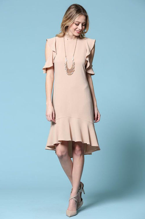 Melody Cold Shoulder Dress : Taupe