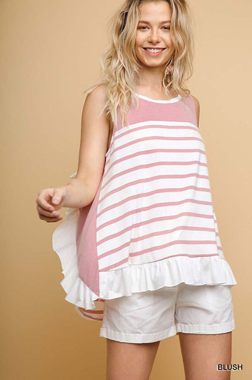 Ember Ruffle Sleeveless Top : Blush