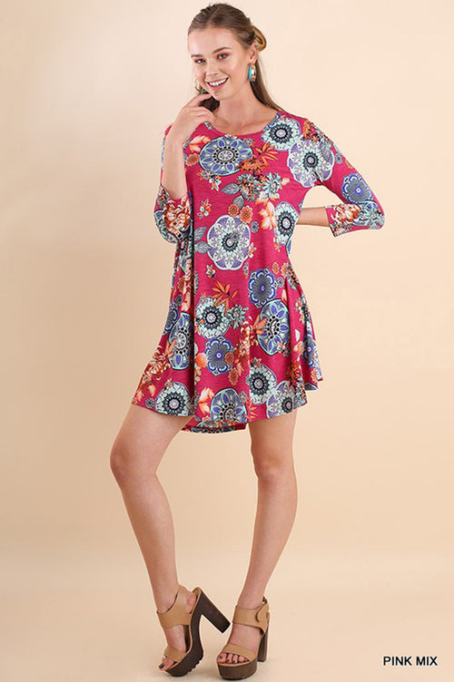 Aubree Medallion Swing Dress : Pink