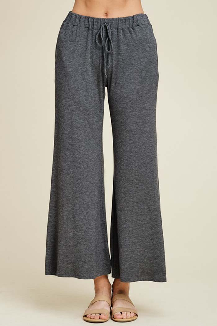 Izzy Lounging Wide Pants : Mid Grey