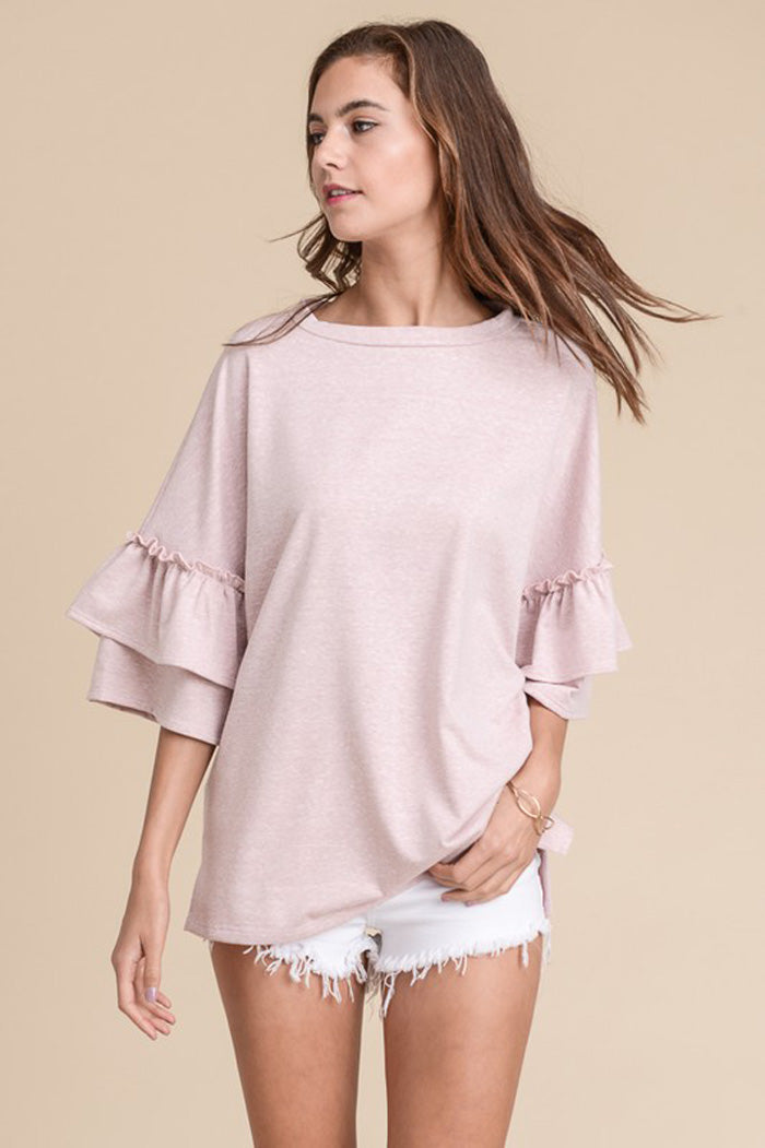 Julie Ruffle Sleeve Top : Oatmeal