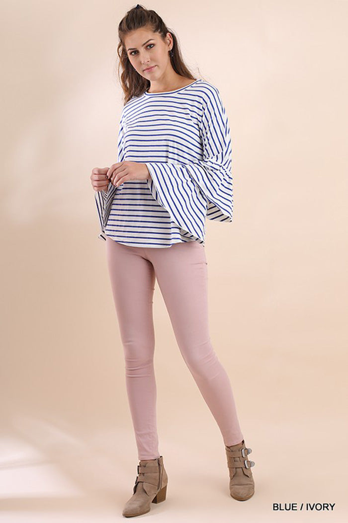 Aria Stripe Ruffle Top : Blue/Ivory