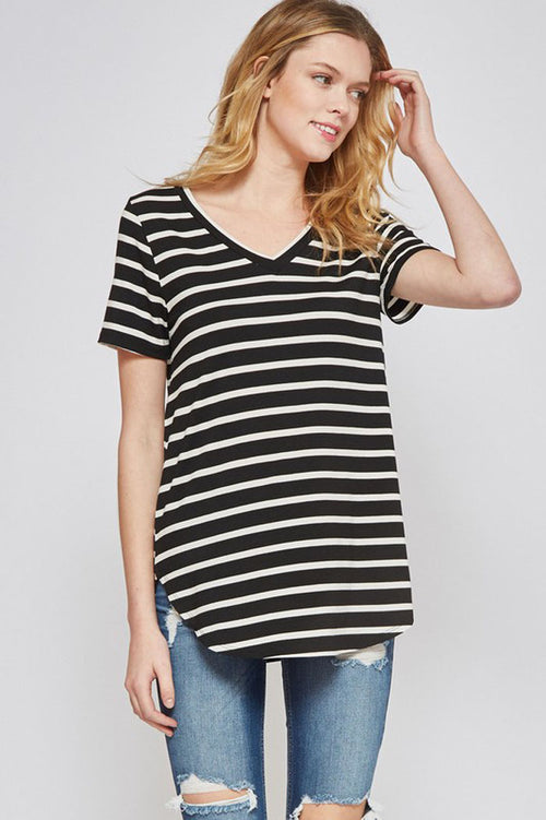 Sophie Stripe V-Neck Top : Black/Ivory