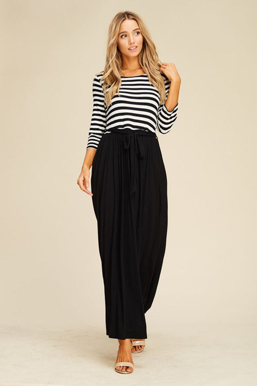 Melanie Contrast Maxi Dress : Black