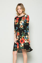 Sarah Floral Swing Dress : Black