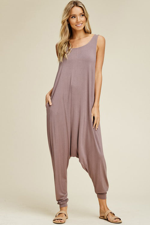 Aria Sleeveless Jumpsuits : Taupe Grey