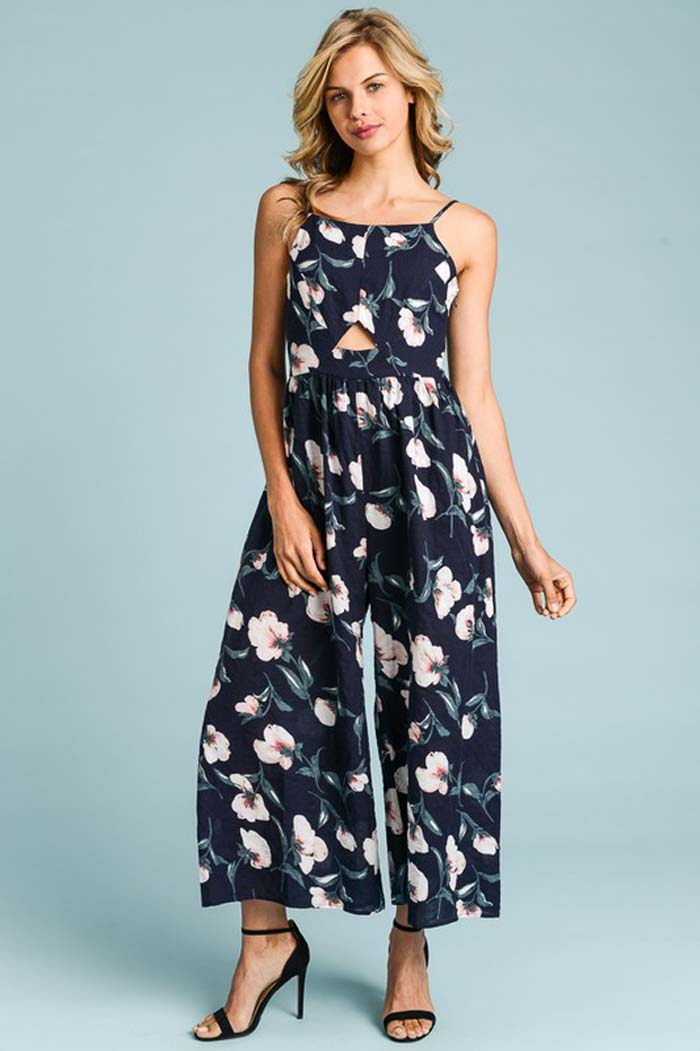 Charlotte Floral Jumpsuits : Navy