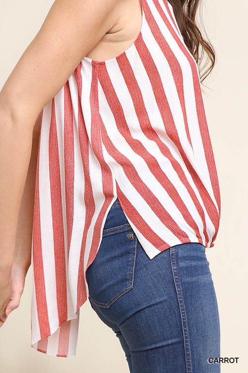 Brooke Striped Hi-lo Top : Carrot