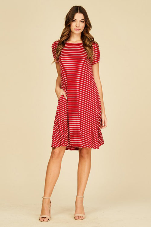 Hannah Stripe Midi Dress : Red/Ivory
