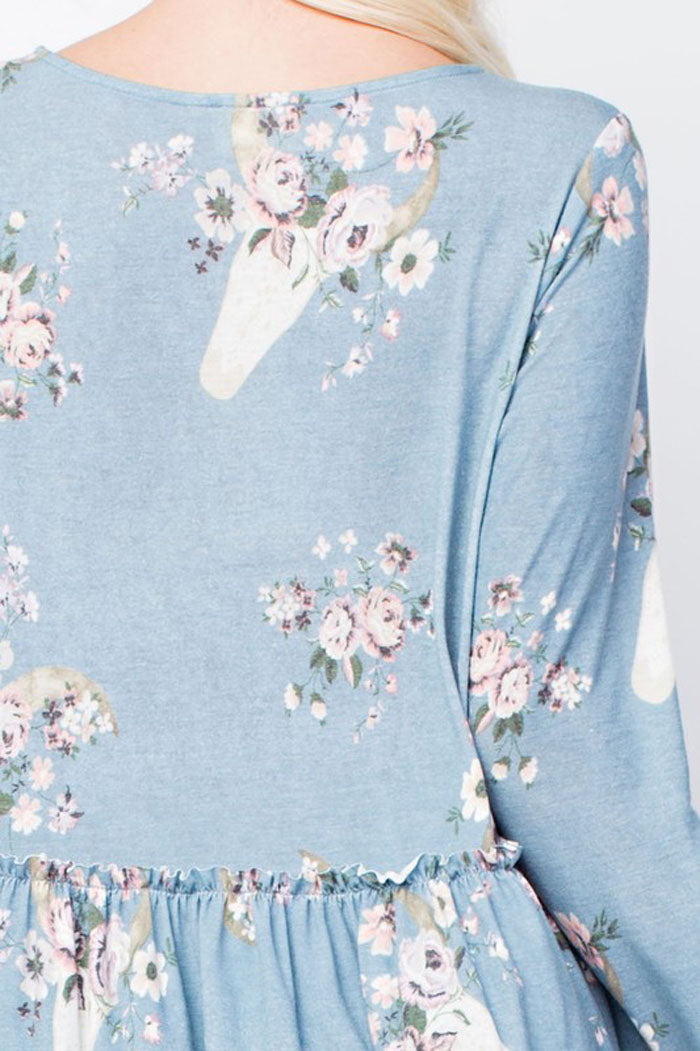 Evelyn Floral Babydoll Top : Blue