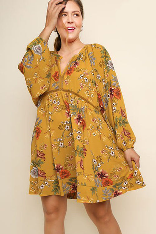 Elizabeth Floral Babydoll Dress Plus : Mustard Mix