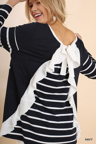 Denise Front Tie Top : Ivory/Black