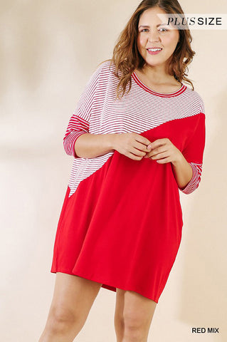 Jocelyn Folded Sleeve Top Plus : Red