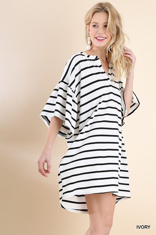 Diana Striped Loose Dress : Ivory