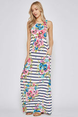 Sophie Floral Stripe Maxi Dress : Navy