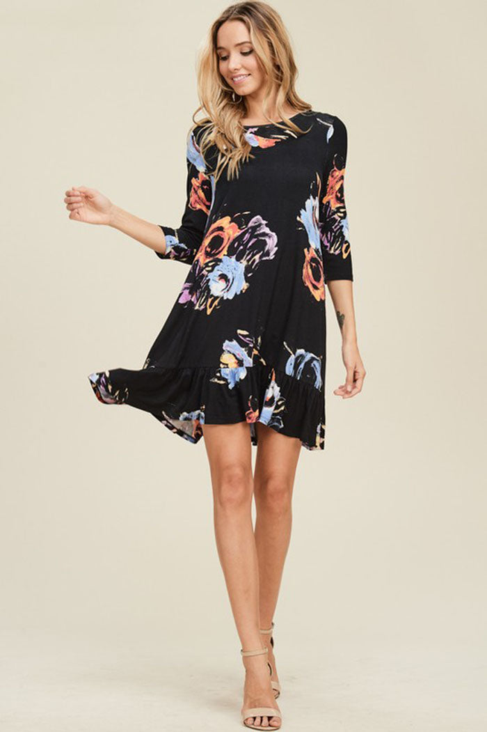 Evelyn Floral Swing Dress : Black