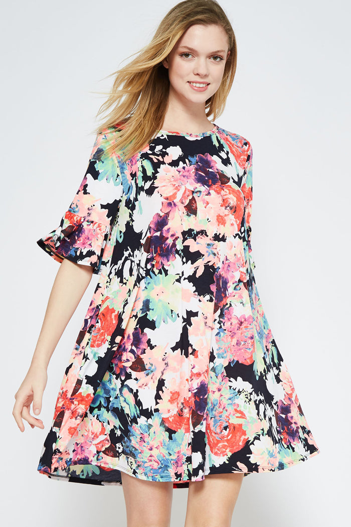 Taylor Bell Sleeve Dress : Multi