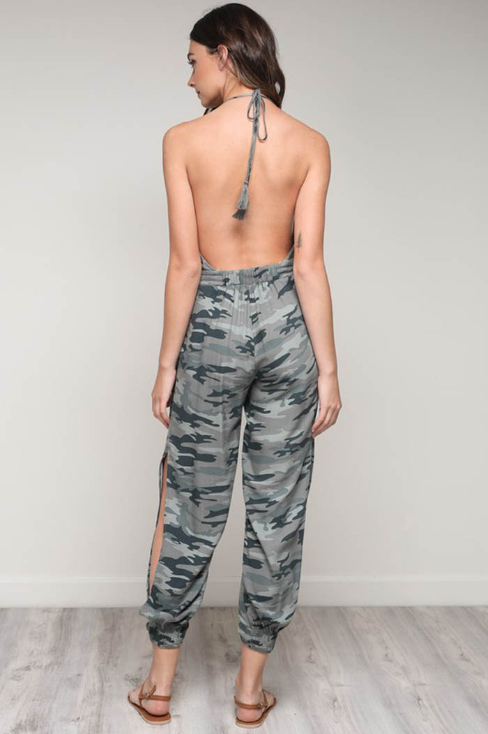 Tiffany Halter Jumpsuits : Camouflage