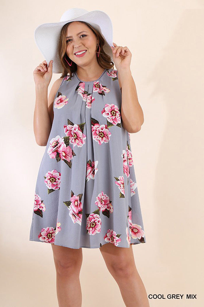 Aileen Floral Dress Plus : Black