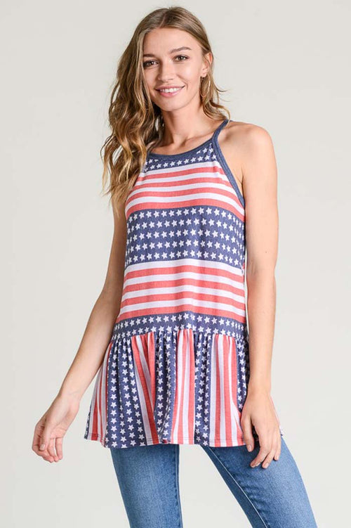 Grace American Flag Tunic Top : Red/Blue