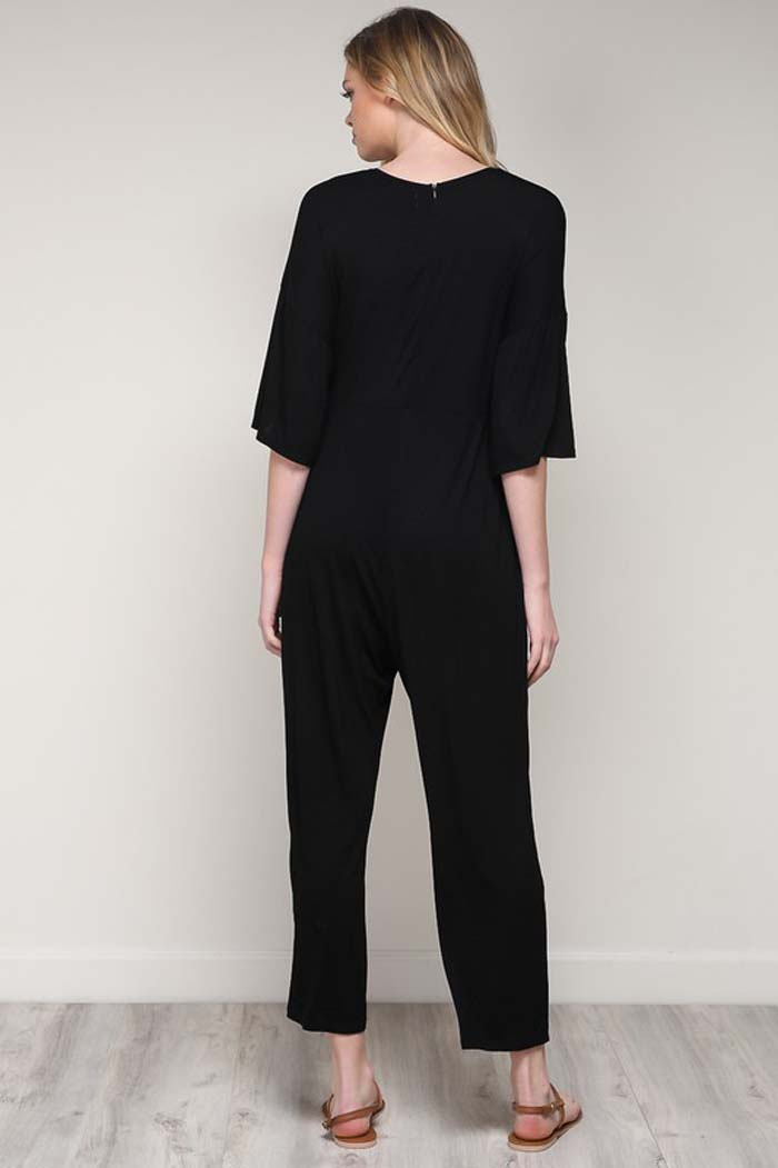 Abbie Tied Jersey Jumpsuits : Black