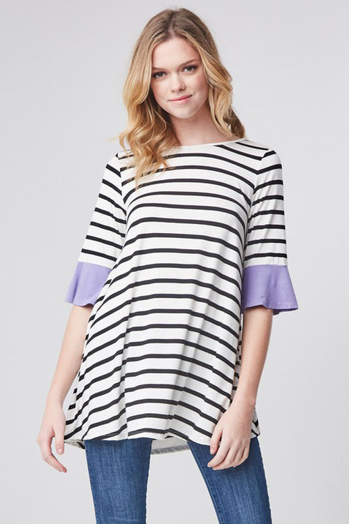 Rachel Cute Sleeve Tunic : Lilac/Black