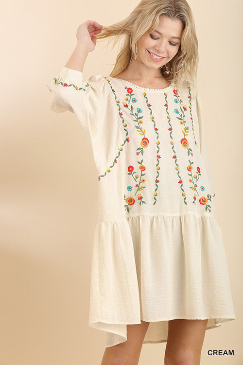 Claire Embroidery Boho Dress : Cream