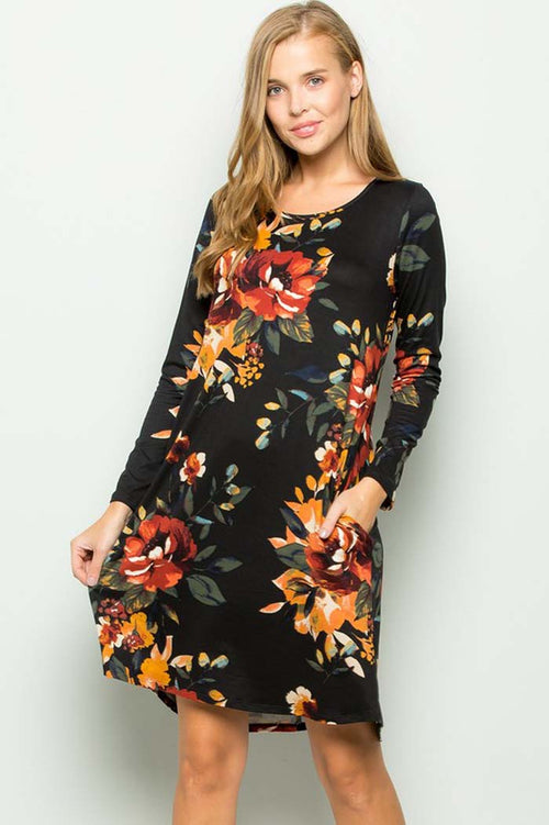 Delightful Floral Mini Dress : Black