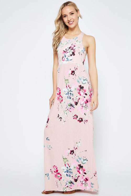 Elliot Floral Maxi Dress : Dusty Pink