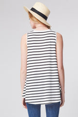 Sharon Stripe Tank Top Plus : Ivory/Black