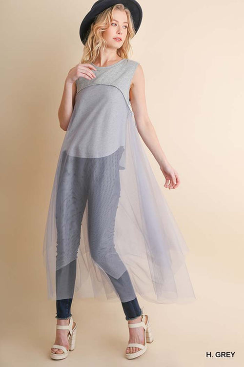 Abby Chiffon Body Top : Heather Grey