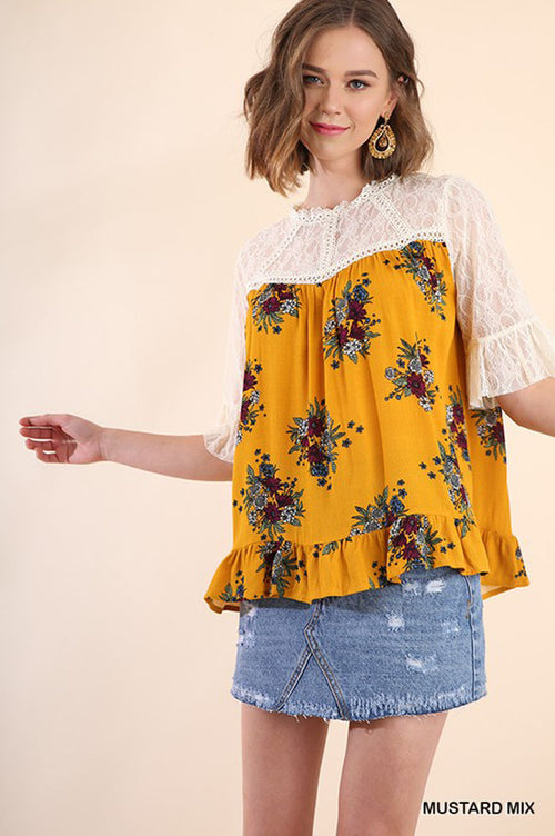Eileen Floral Lace Top : Mustard