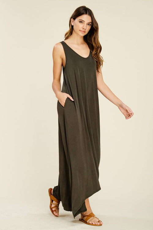 Melody V-Neck Maxi Dress : Olive