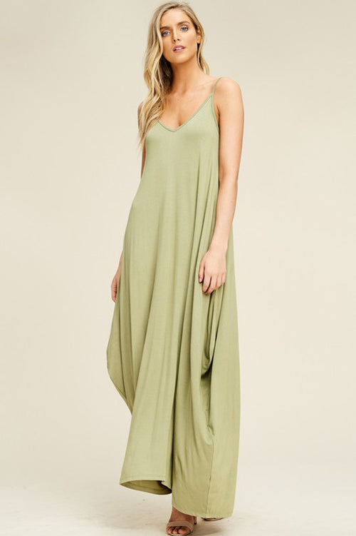 Aurora Uneven Hem Maxi Dress : New Olive