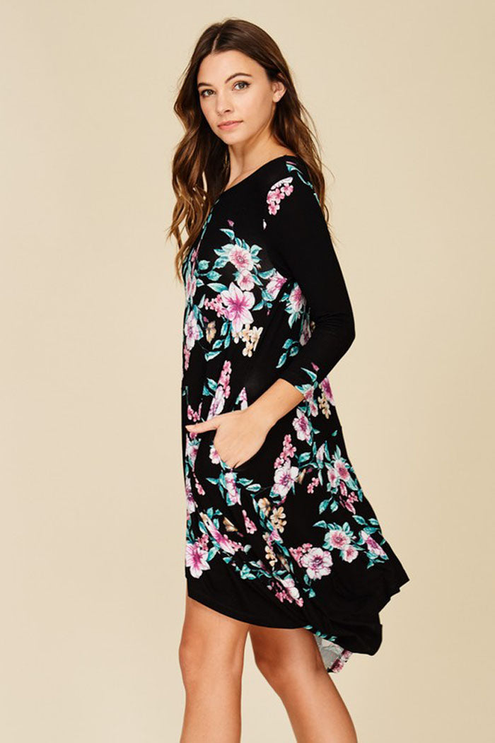 Grace Uneven Hem Dress : Black