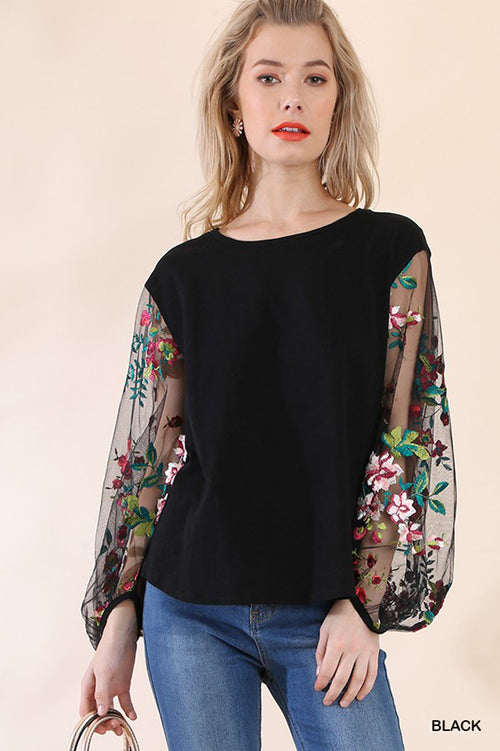 Monica Floral Sheer Sleeve Top : Black