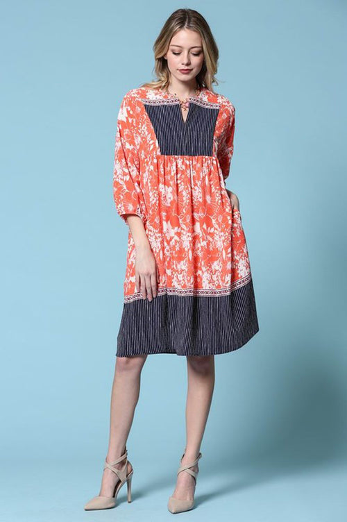 Daisy Floral Midi Dress : Orange