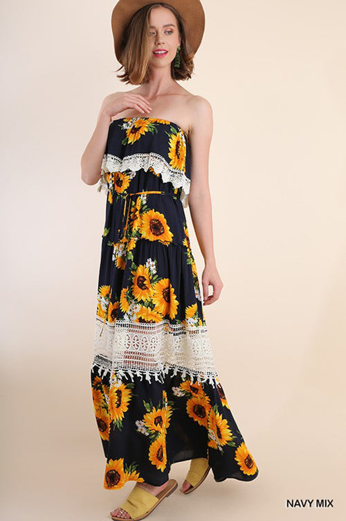Elise Sunflower Tube Maxi : Navy