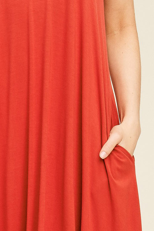 Aurora Uneven Hem Maxi Dress : New Red