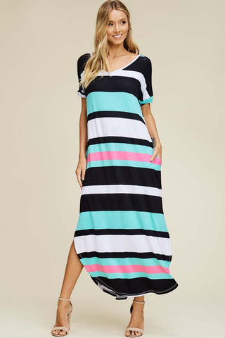 Casual Stripe Maxi Dress : Black/Ivory
