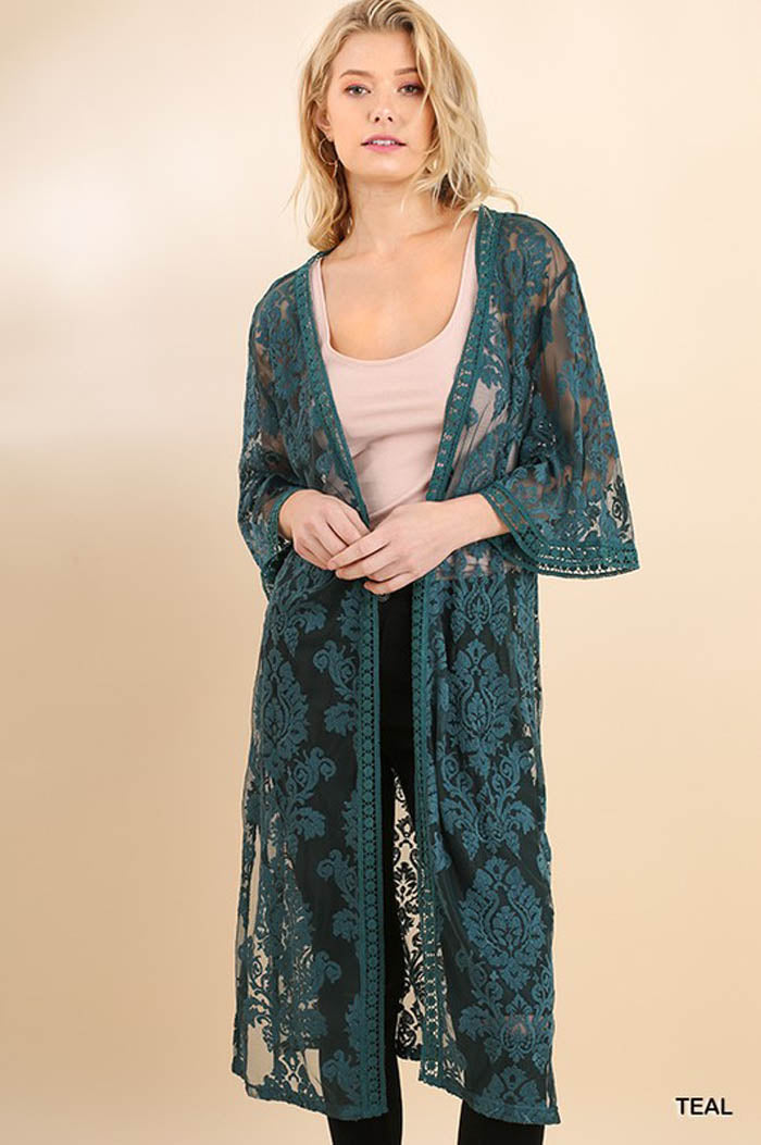 Esme Embroidered Lace Cardigan : Teal