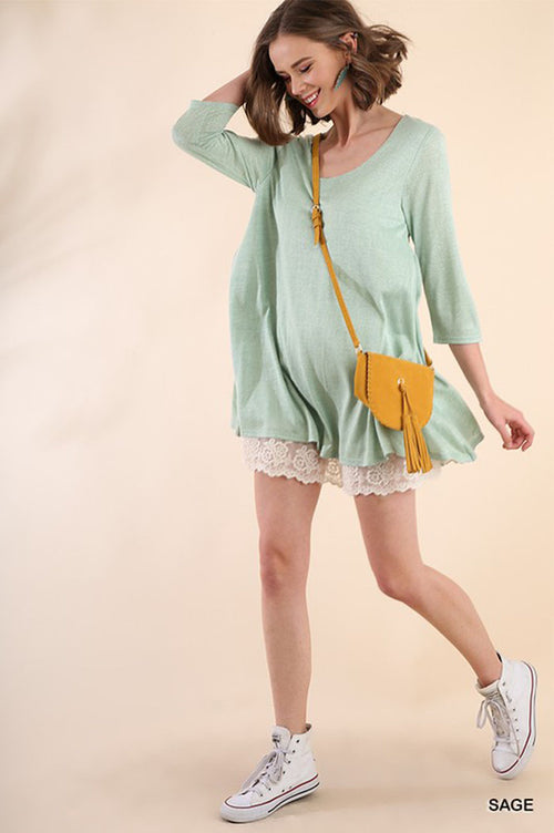 Reese Lace Hem Dress : Sage