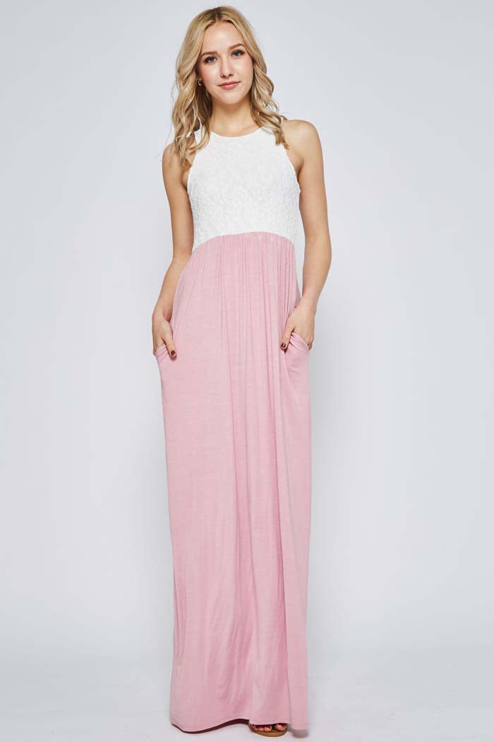 Ella Crochet Maxi Dress Plus : Dusty Pink