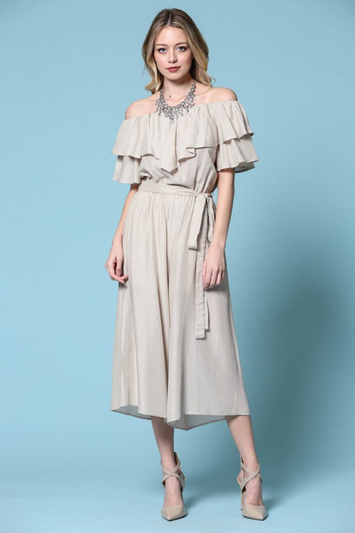 Eva Off Shoulder Romper : Taupe