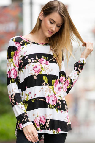 Judie Stripe Floral Top